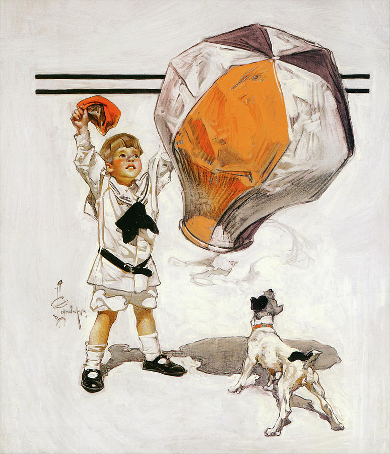 Joseph Christian Leyendecker Painting - Boy And Dog And A Balloon - Digital Remastered Edition by Joseph Christian Leyendecker