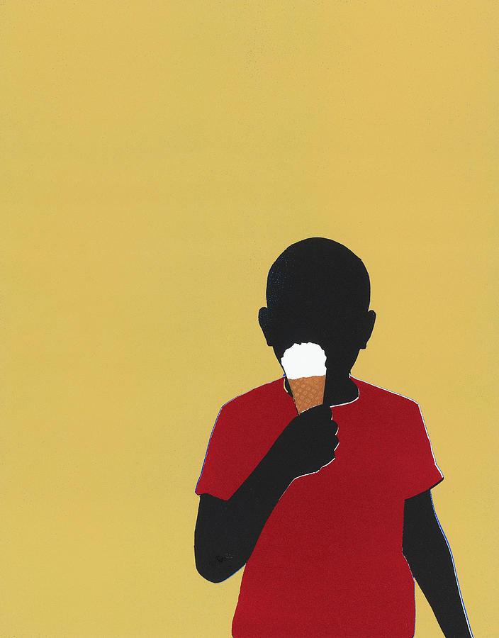 Boy Eating Ice Cream Cone Digital Art by Amy Devoogd