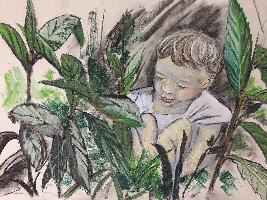 Boy Mixed Media - Boy In The Garden Jungle by Danielle Rosaria