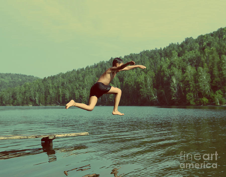 Activity Photograph - Boy Jumping In Lake At Summer Vacations by Kokhanchikov