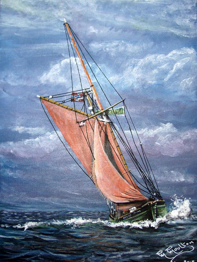 Boy Leslie Cornish Fishing Trawler Painting