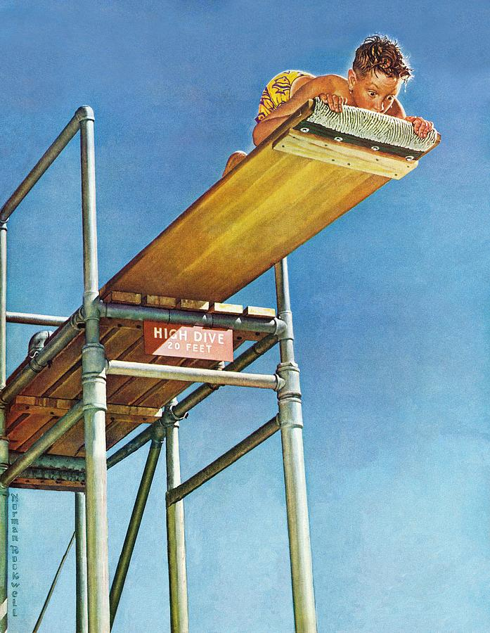 Boy Drawing - Boy On High Dive by Norman Rockwell