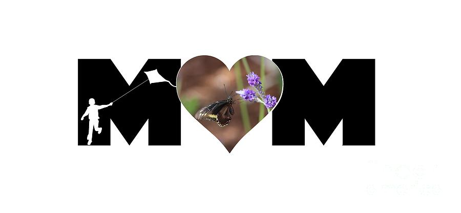 Boy Silhouette and Butterfly on Lavender in Heart MOM Big Letter by Colleen Cornelius