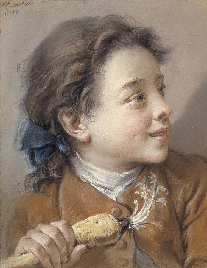 French Painters Pastel - Boy With A Carrot by Francois Boucher