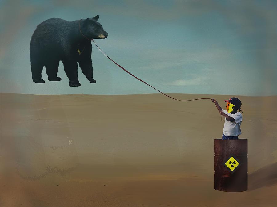 Boy With A Flying Bear Digital Art