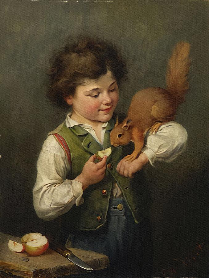 Boy with a Squirrel  by Heinrich Hirt