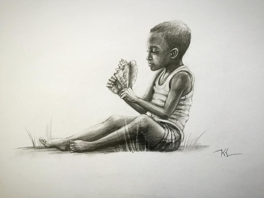Boy with conch shell by Katerina Kovatcheva