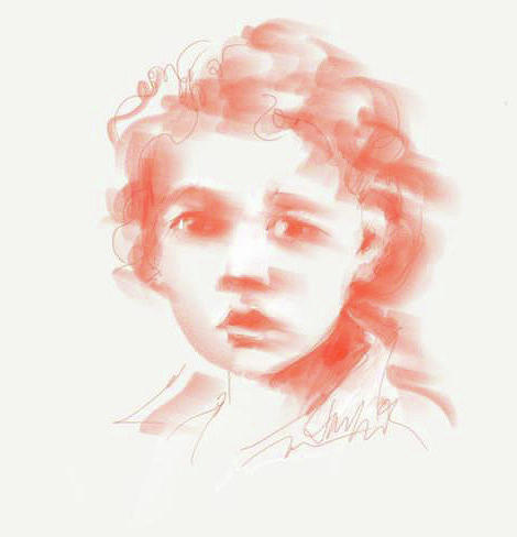 Boy with Curls Drawing by Jacki Kellum