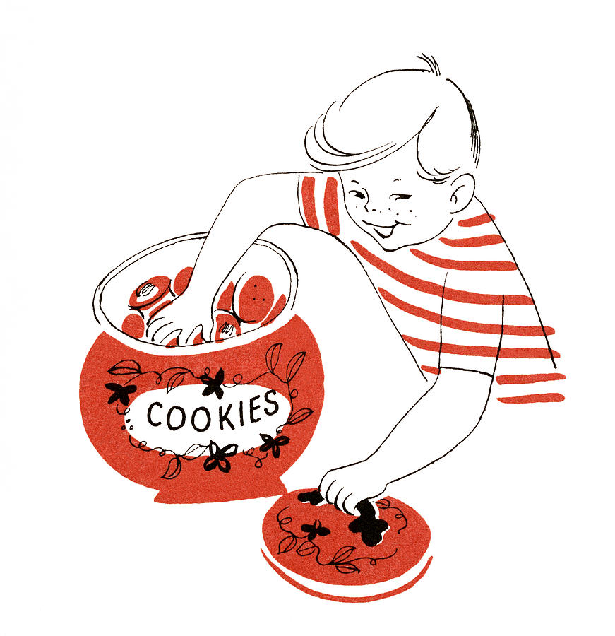 Boy With Hand In Cookie Jar Digital Art by Graphicaartis