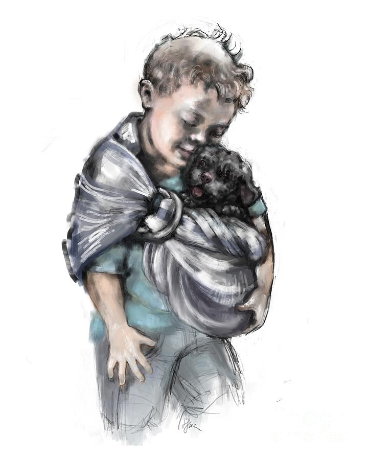 Boy with Puppy by Lora Serra