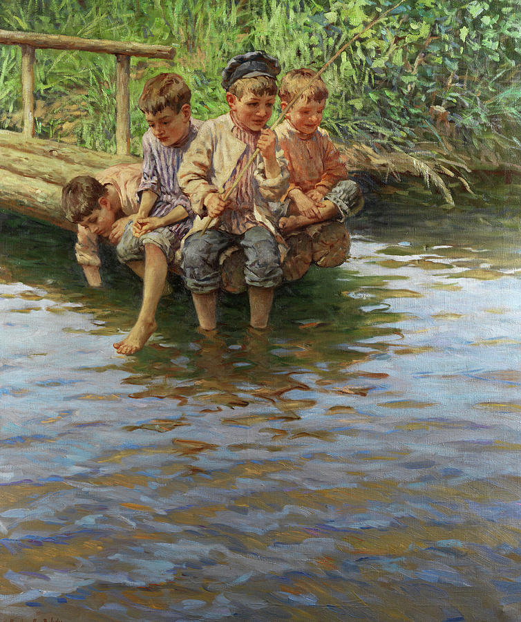 Omaž ribolovcu i ribolovu - Page 11 Boys-fishing-nikolay-bogdanov-belsky