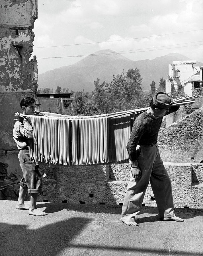 Boys Working In Pasta Factory Carry Photograph by Alfred Eisenstaedt