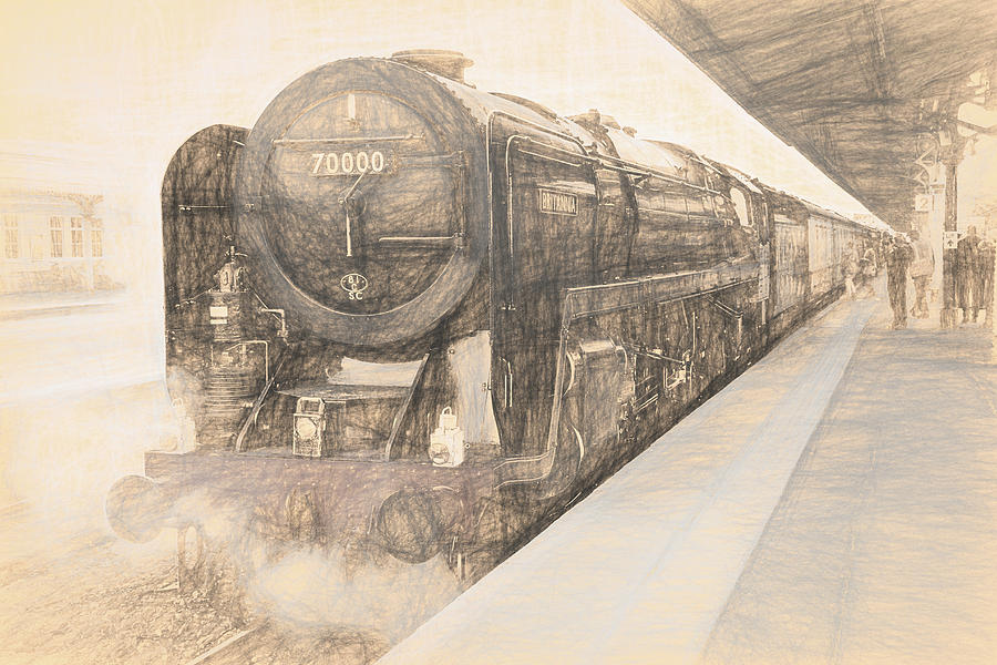 Br Class 7 Britannia Locomotive Vintage Sketch by Rick Deacon