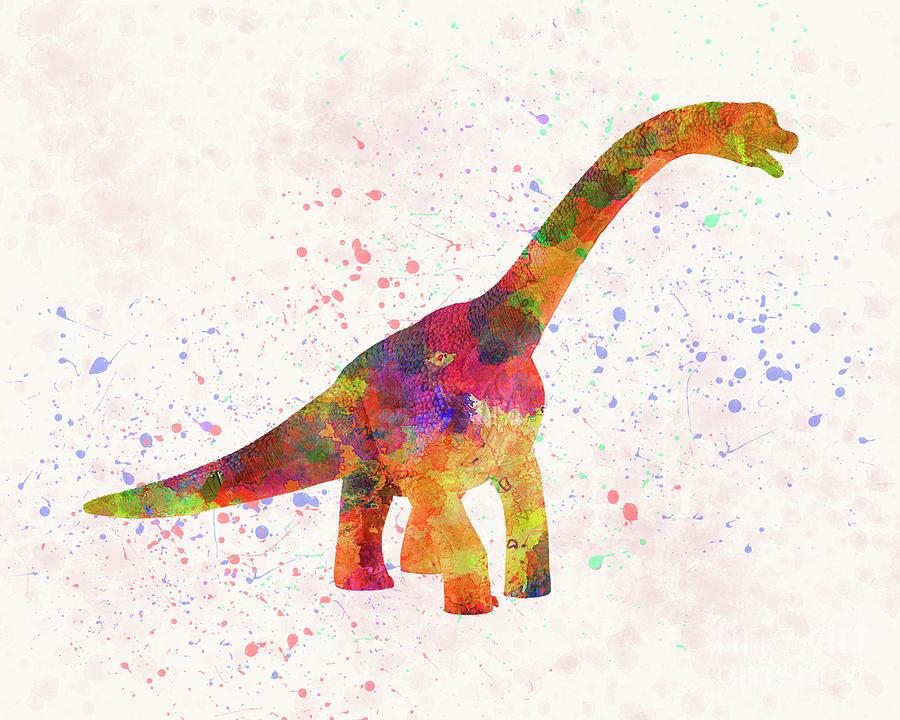 Brachiosaurus dinosaur in watercolor by Pablo Romero