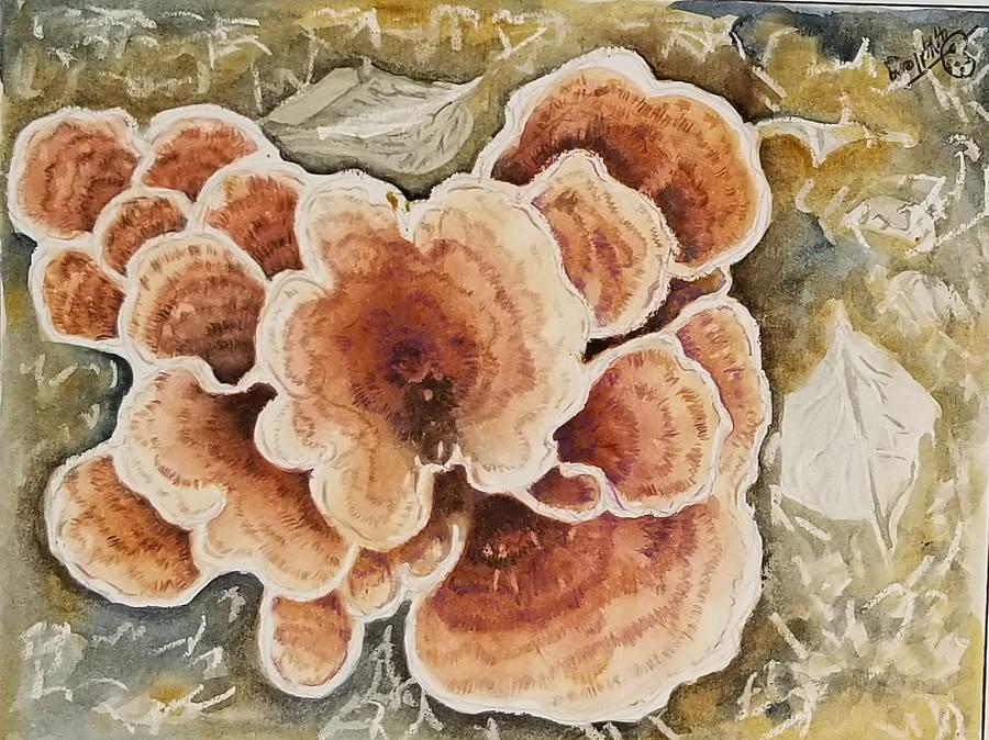 Bracket Fungus Painting - Bracket Fungus by Deryn Van der Tang
