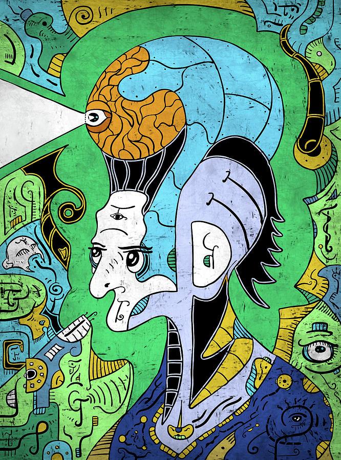 Philosopher Digital Art - Brain-man by Sotuland Art
