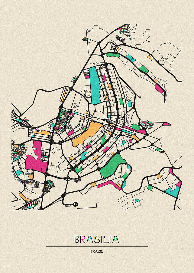 Brasilia, Brazil City Map by Inspirowl Design