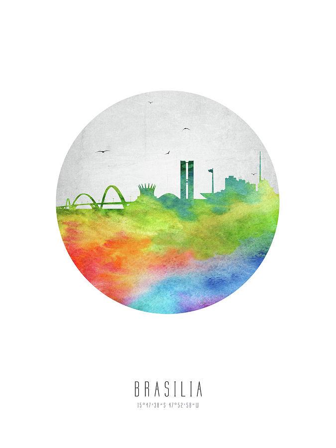 Brazil Digital Art - Brasilia Skyline Cityscape Brbr20 by Aged Pixel