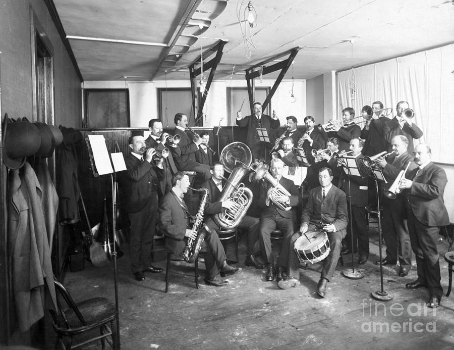 Brass Band In Studio Recording Photograph by Bettmann