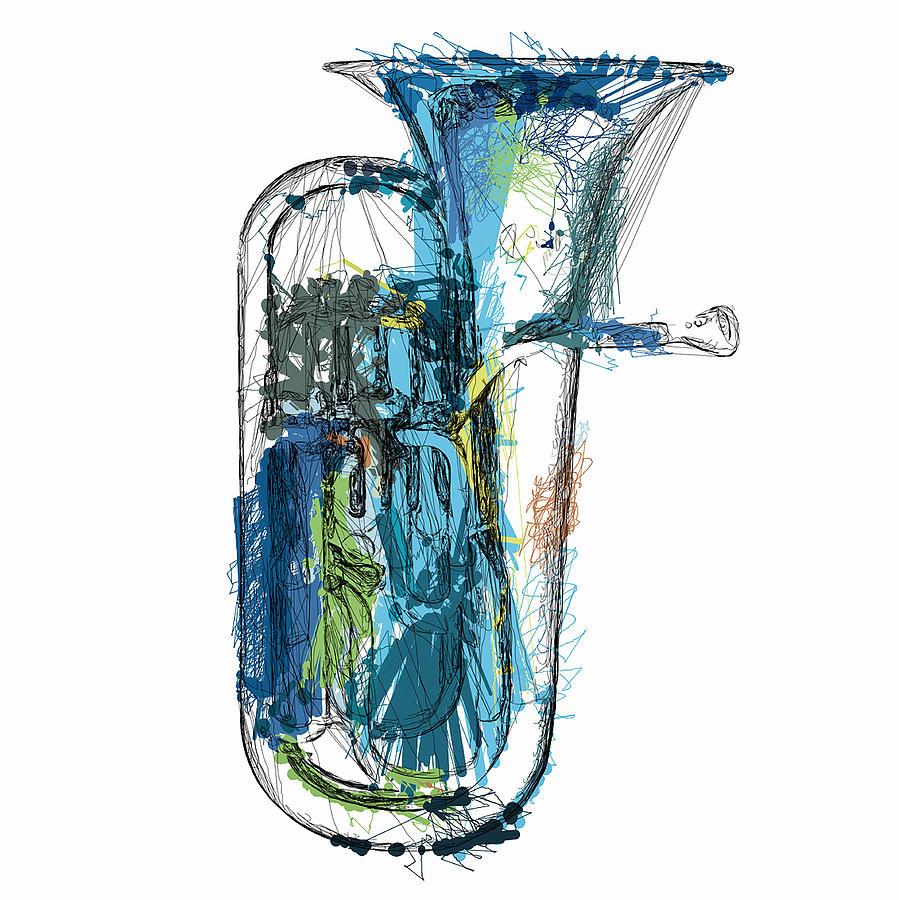 Brass Mixed Media - Brass Euphonium 4 by David Ridley