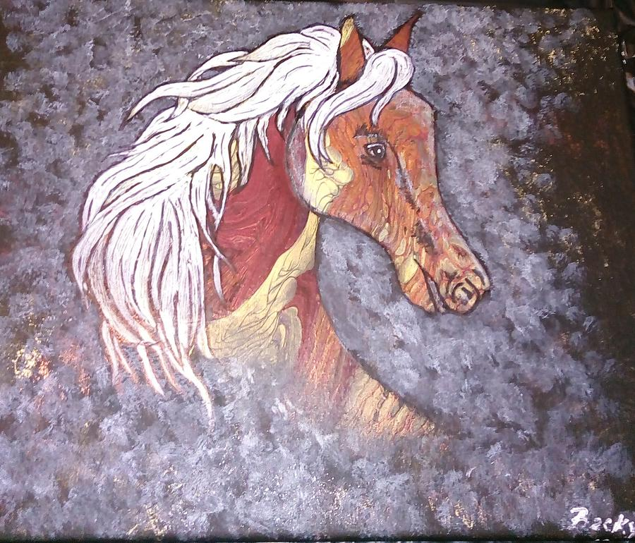 Horse Head Painting - Brass Mare by Becky Hall