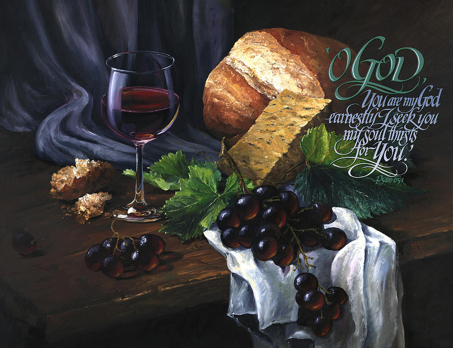 Oil Painting - Bread and Wine by Clint Hansen