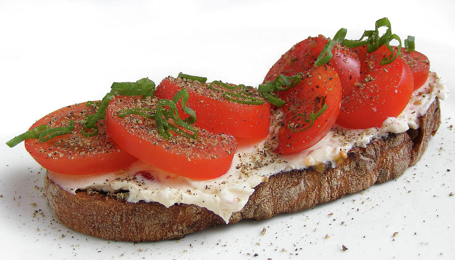Bread, Cream Cheese And Tomato Photograph by Photo By Fotoosvanrobin