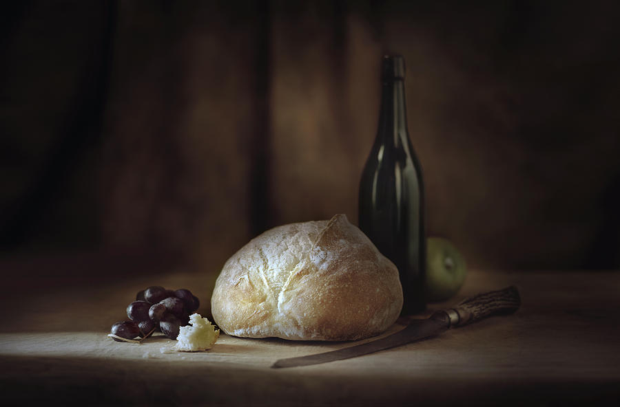 Bread, Fruit, Wine And Cheese On Table Photograph by Chris Clor
