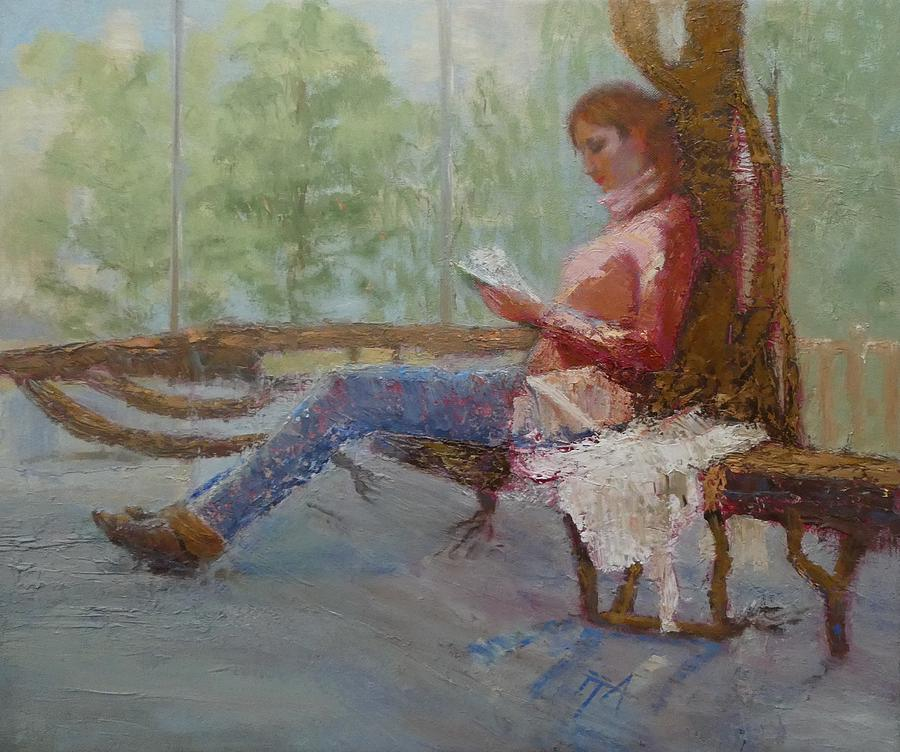 Girl Painting - Break At Museum II by Irena Jablonski