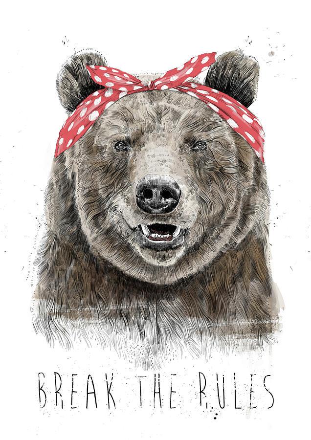 Bear Mixed Media - Break The Rules by Balazs Solti