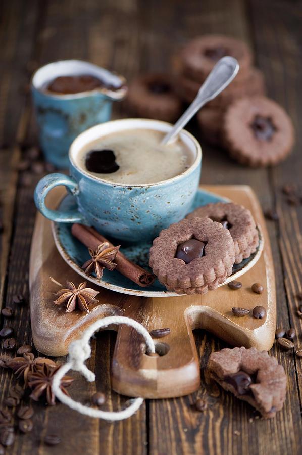 Breakfast Coffee And Chocolate Cookies Photograph by Verdina Anna