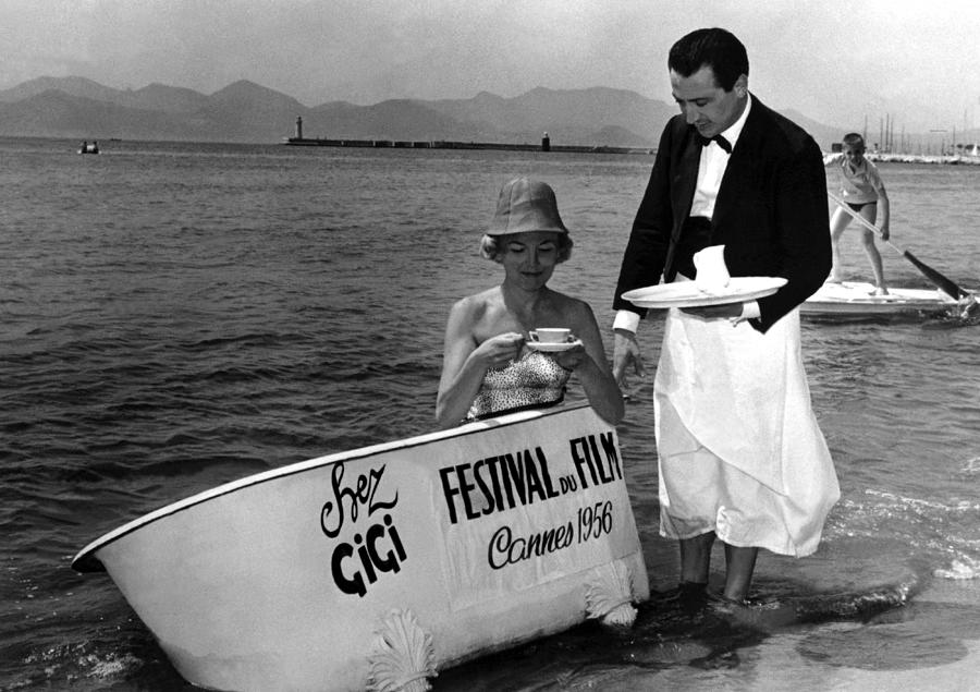 Breakfast On The Beach Cannes In 1956 Photograph by Keystone-france