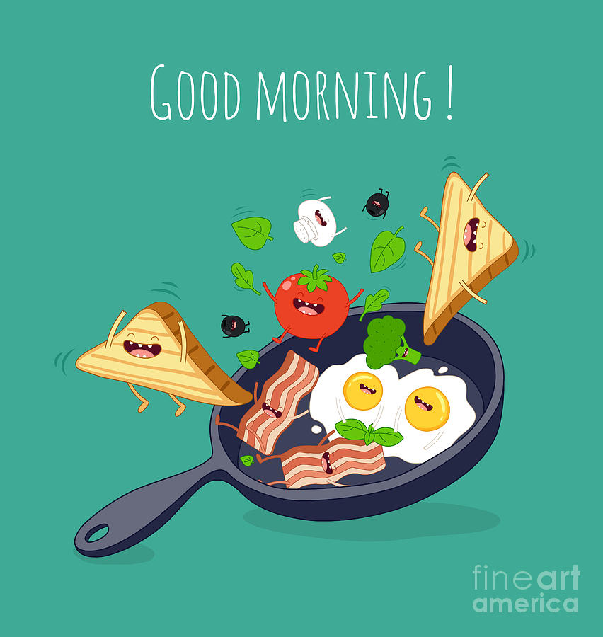 Lunch Digital Art - Breakfast Poster Fried Eggs With Bacon by Serbinka