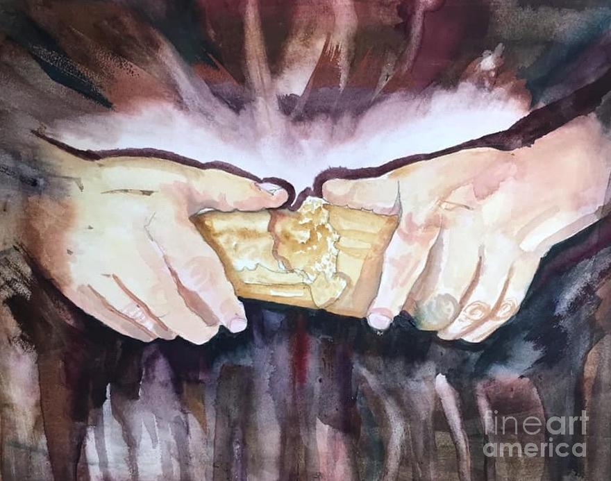 Breaking Bread Painting By Catherine Bennett