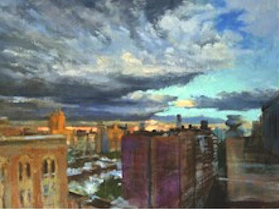 New York Painting - Breaking Clouds At Sunset by Peter Salwen