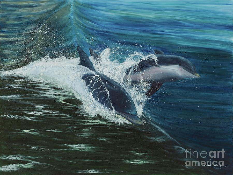 Dolphins Painting - Breaking Form by Artbysarge
