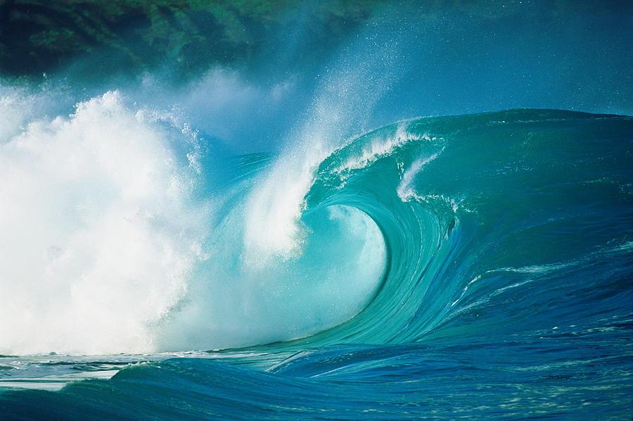 Breaking Ocean Wave,foam Crashing Into Photograph by Photo/ron Dahlquist