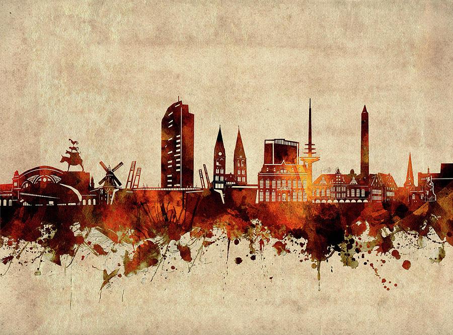 Bremen Digital Art - Bremen Skyline Sepia by Bekim M