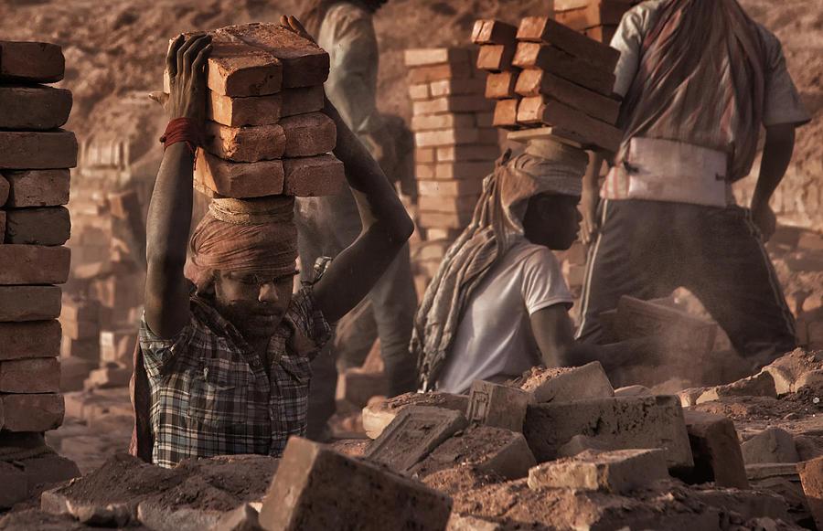 Nepal Photograph - Brick Factory (2): Workers Stacking Bricks by Yvette Depaepe