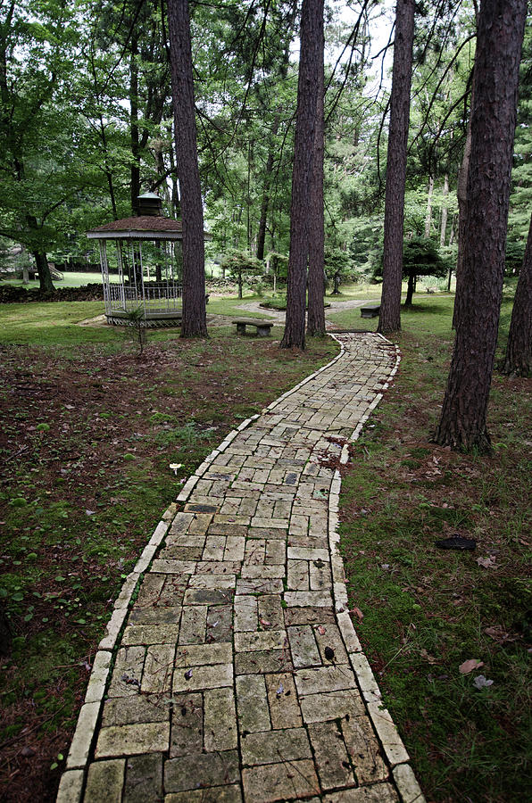 Brick Path Through the Trees by Crystal Wightman