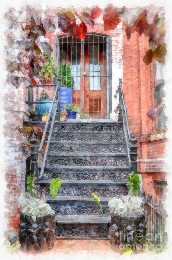 Stairs Digital Art - Brick Townhouse Walkup Watercolor by Edward Fielding