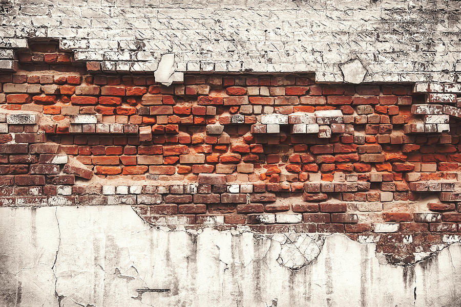Tranquility Photograph - Brick Wall Falling Apart by Ty Alexander Photography