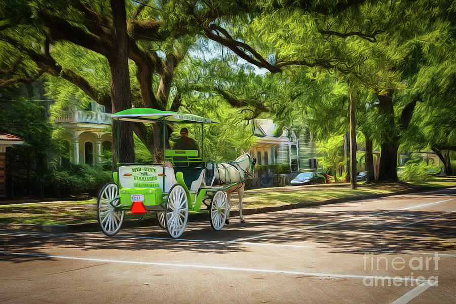 Bridal Carriage Ride New Orleans - digital art by Kathleen K Parker