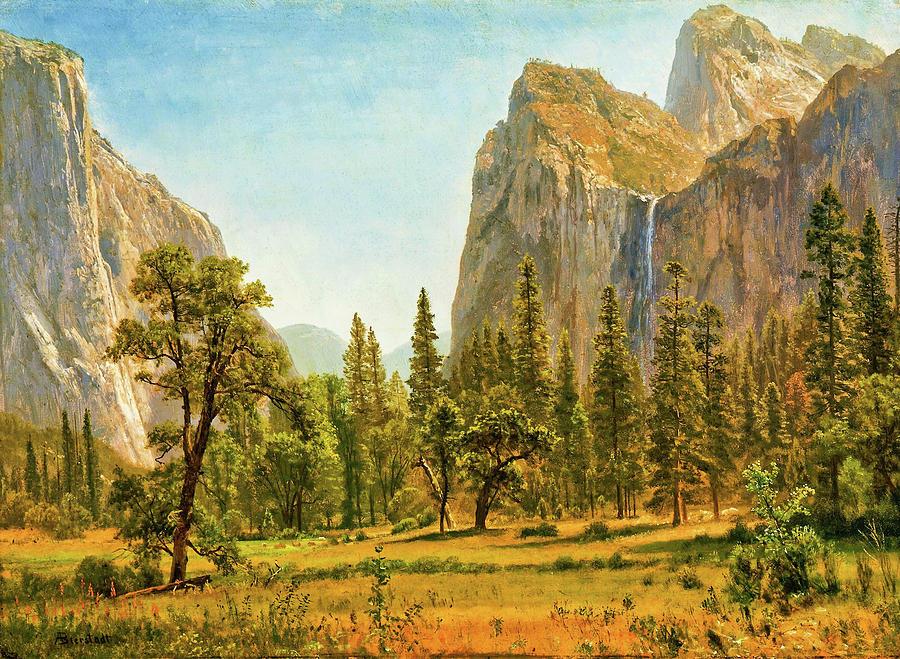 Bridal Veil Falls Painting - Bridal Veil Falls, Yosemite Valley, California - Digital Remastered Edition by Albert Bierstadt