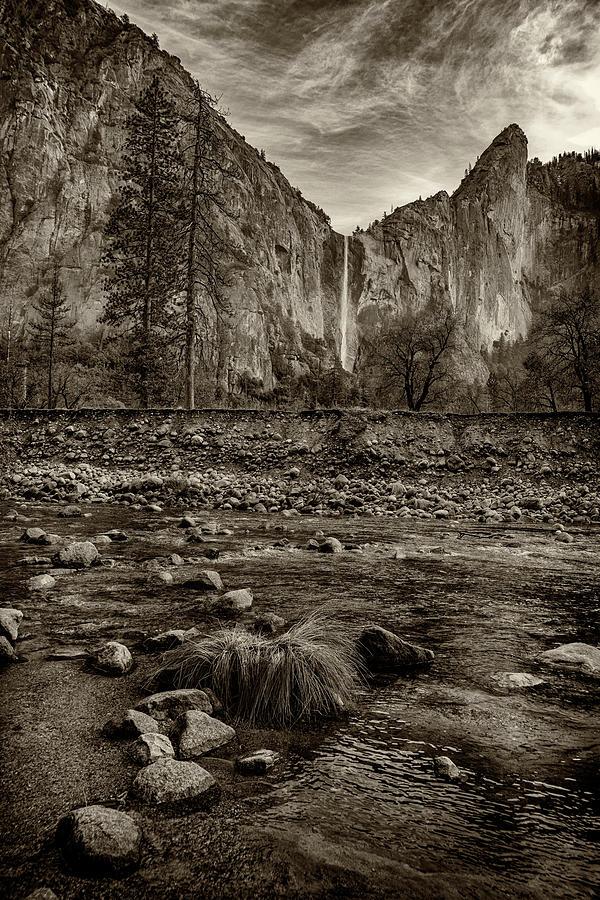 Bridalveil Fall Yosemite NP CA monotone_ GRK1586_12192018  by Greg Kluempers