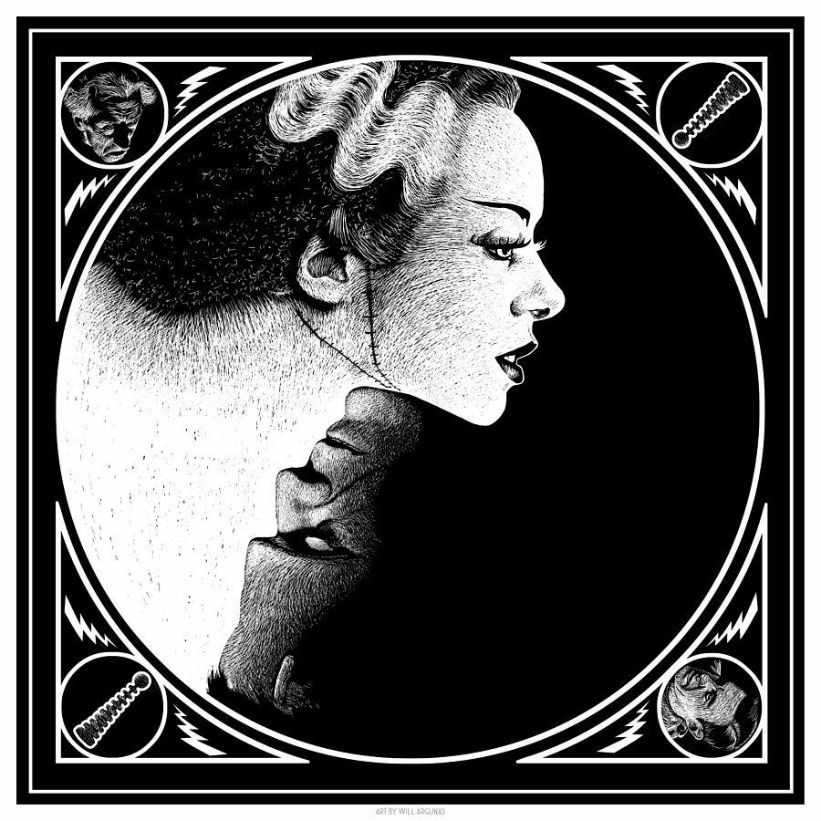 Bride Of Frankenstein Digital Art by Will Argunas