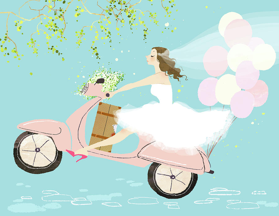 Bride On Scooter Digital Art by Eastnine Inc.