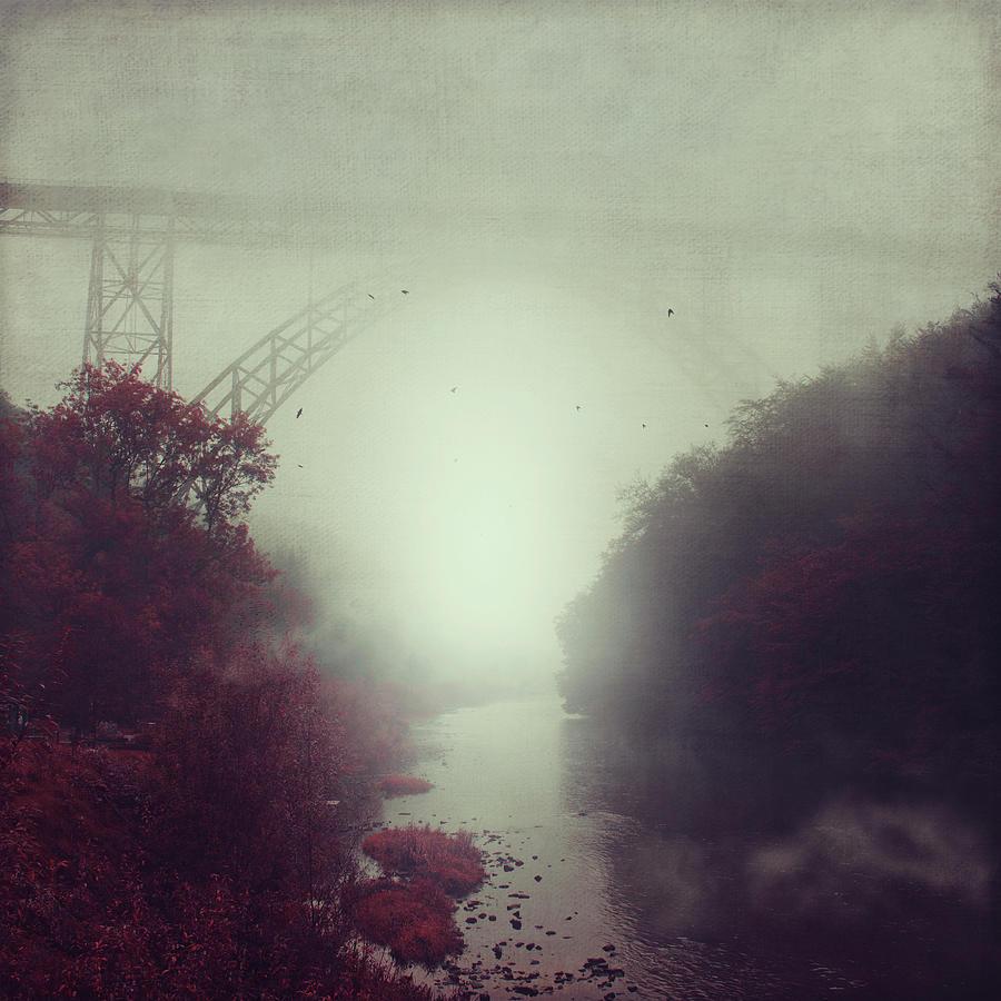 Fog Photograph - Bridge And River In Fog by Dirk Wuestenhagen