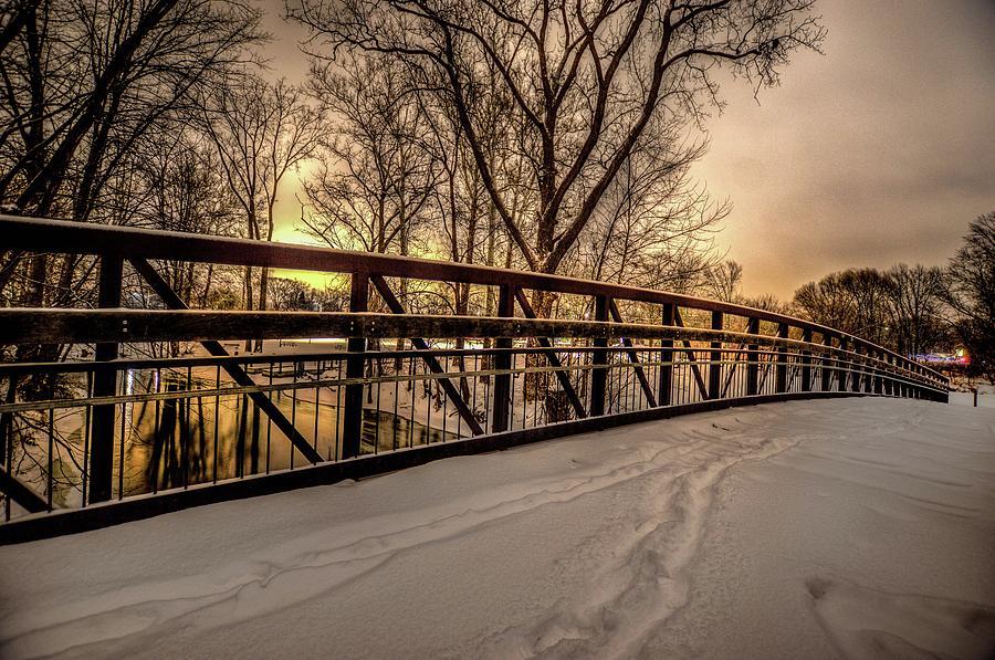Bridge at Night in the Snow  V2 DSC_0087 by Michael Thomas