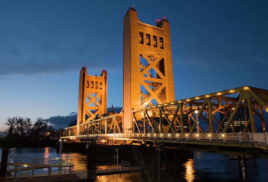 Bridge At Nightime Photograph by Jmoor17